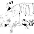 ファッションブランドseesaw05:テーマ「おとぎ話」に提供したグラフィック「うそつきなオードブル」
